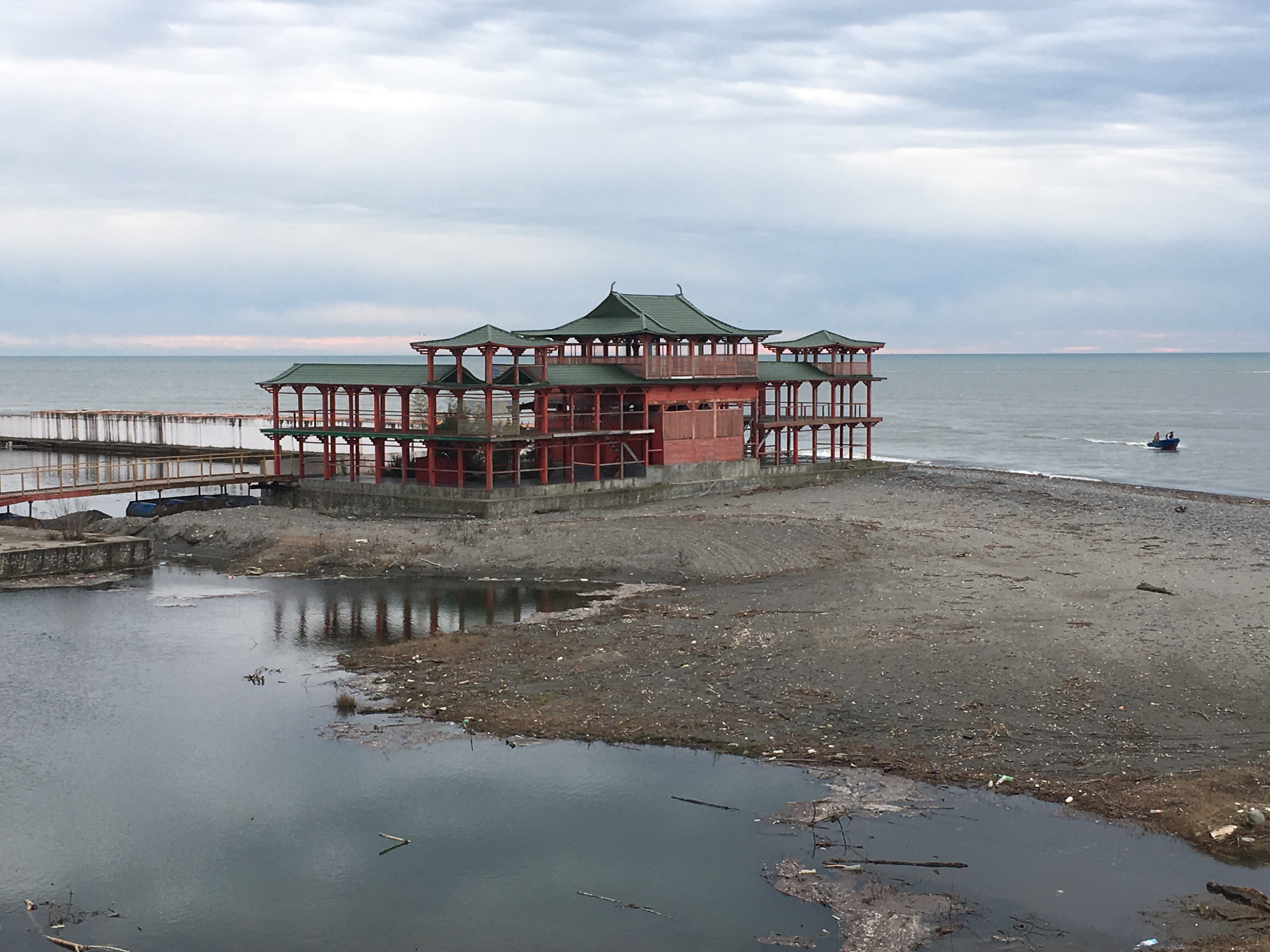 Chinese-style beach pavilion near the Anaklia Port