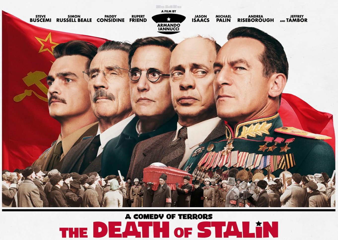 The poster for Death of Stalin, which has been banned in Russia and allowed a low-key release in Kazakhstan.