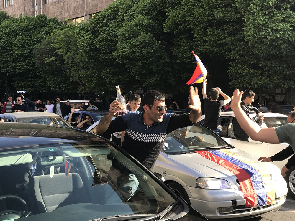 Revelers in the streets of Yerevan after Armenia prime minister steps down
