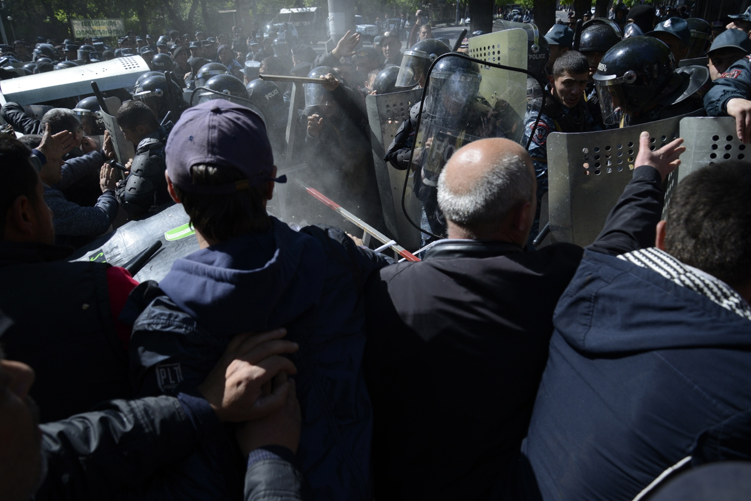Clashes between police and protestors on Baghramyan Street