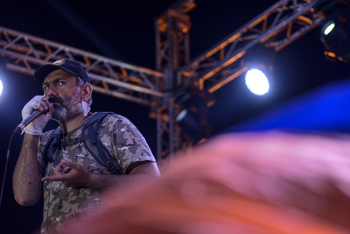 Nikol Pashinyan at a rally in Yerevan on April 25