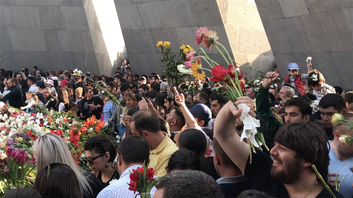 Armenians remember the 1915 genocide by carrying flowers to lay at the monument built by the Soviets in 1967.