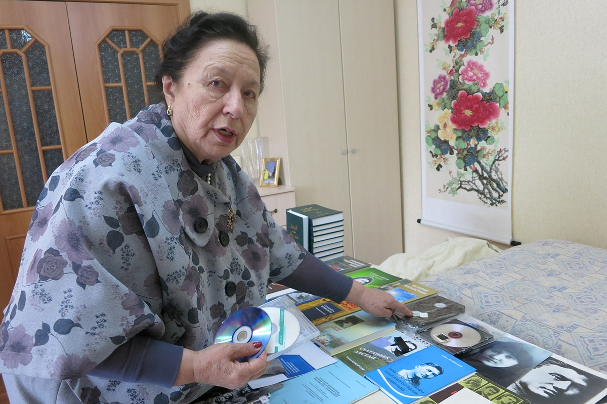 Svetlana Tynybekova, 78, in her apartment in Astana, Kazakhstan. Born in 1939, she experienced the tail-end Stalin's terror that swept up her family with it. (All photos by Joanna Lillis)