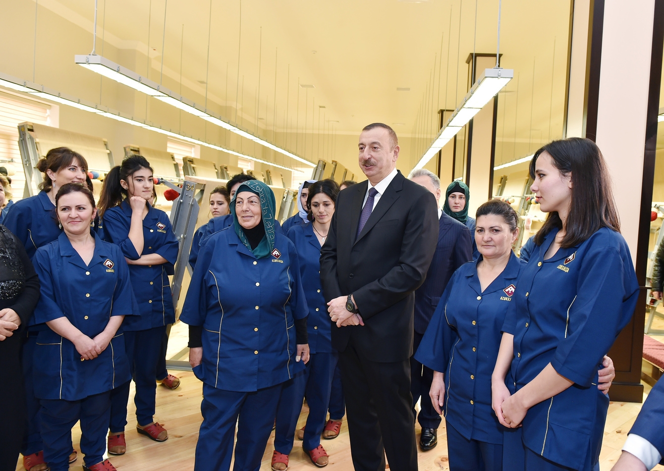 Ilham Aliyev opening a carpet factory in the northern city of Guba in December. (president.az)