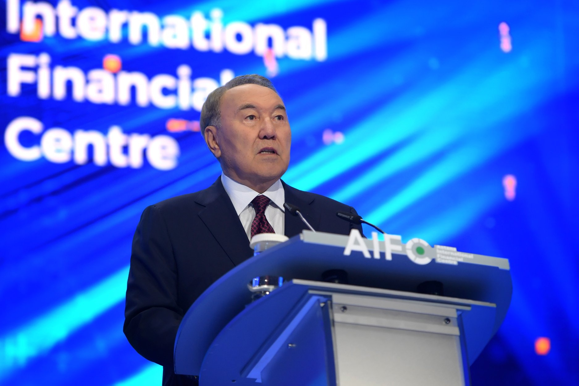 Nazarbayev at the AIFC opening last month. (Photo: Kazakhstan president's office)