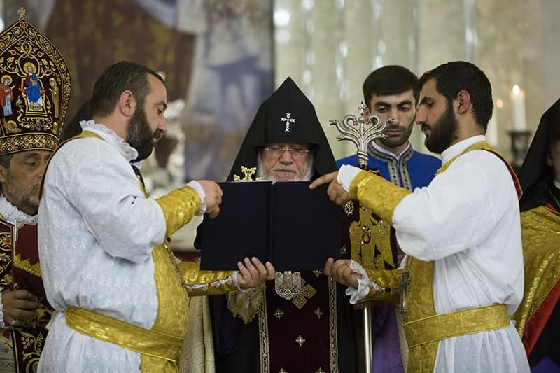 The Catholicos of All Armenians Karekin II celebrating the liturgy at Mother See of Holy Etchmiadzin. (Photo: Facebook)