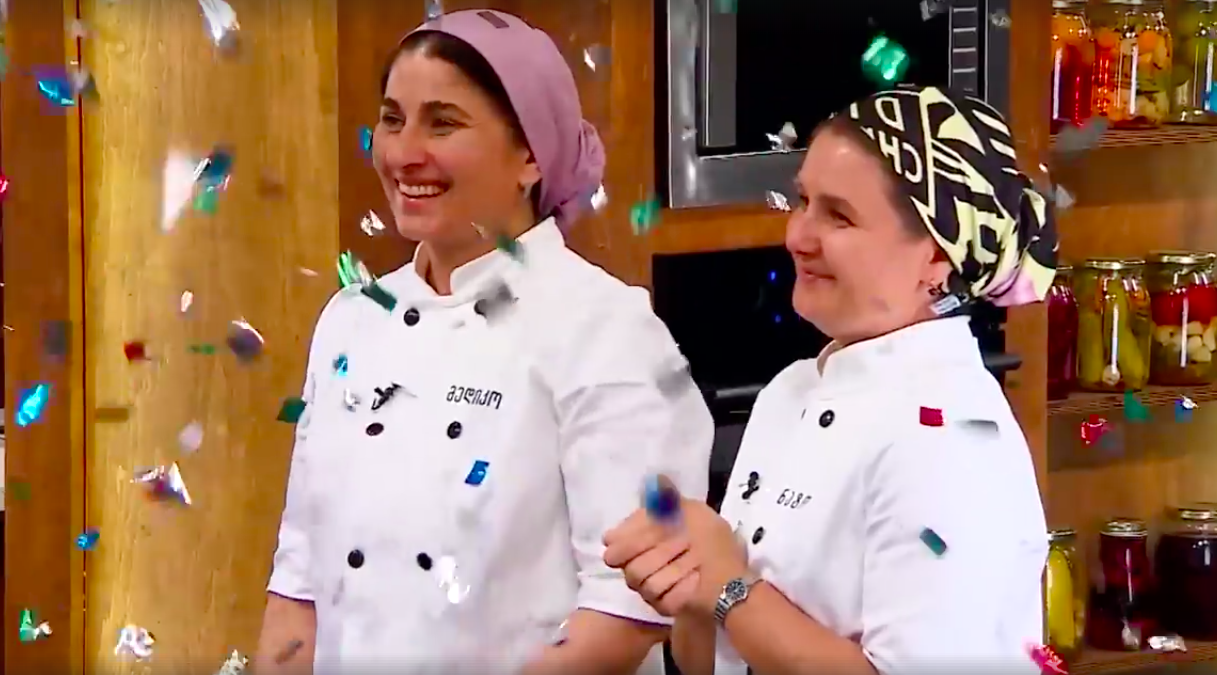 "Two women from Georgia's Pankisi Gorge, Nato Kavtarashvili and Mediko Machalikashvili, winning a Georgian cooking show, ""My Cuisine Rules."""