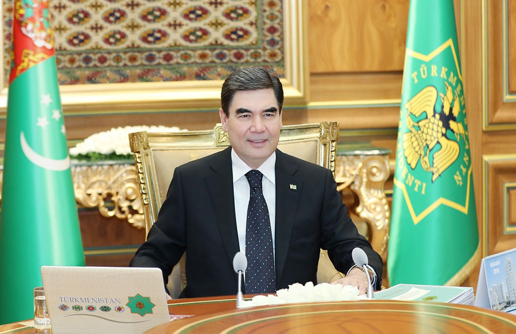 President Berdymukhamedov, self-reassured after another fantastical Cabinet meeting. (Photo: State news agency TDH)