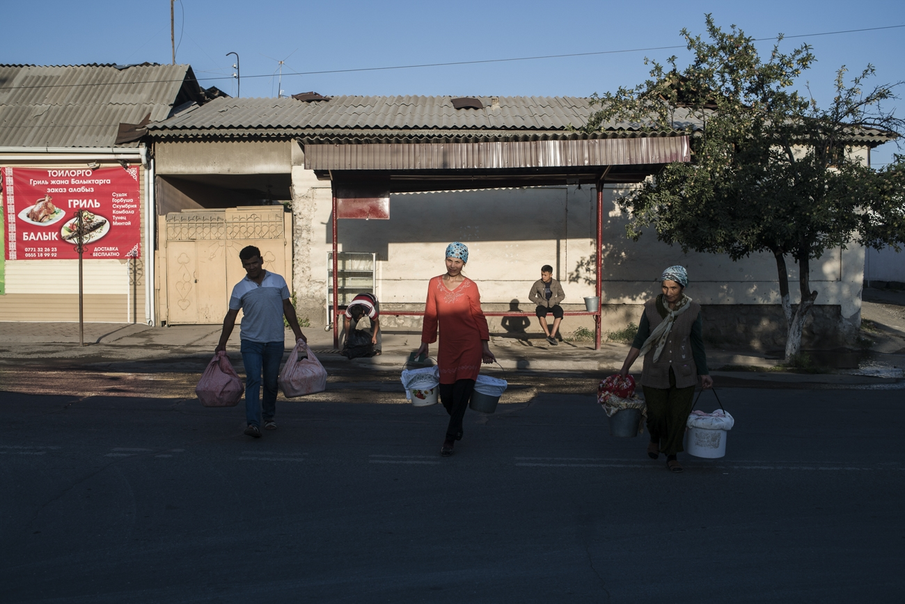 Farmers from Uzbekistan travel to the Teshik-Tash market in the city of Osh with their goods.