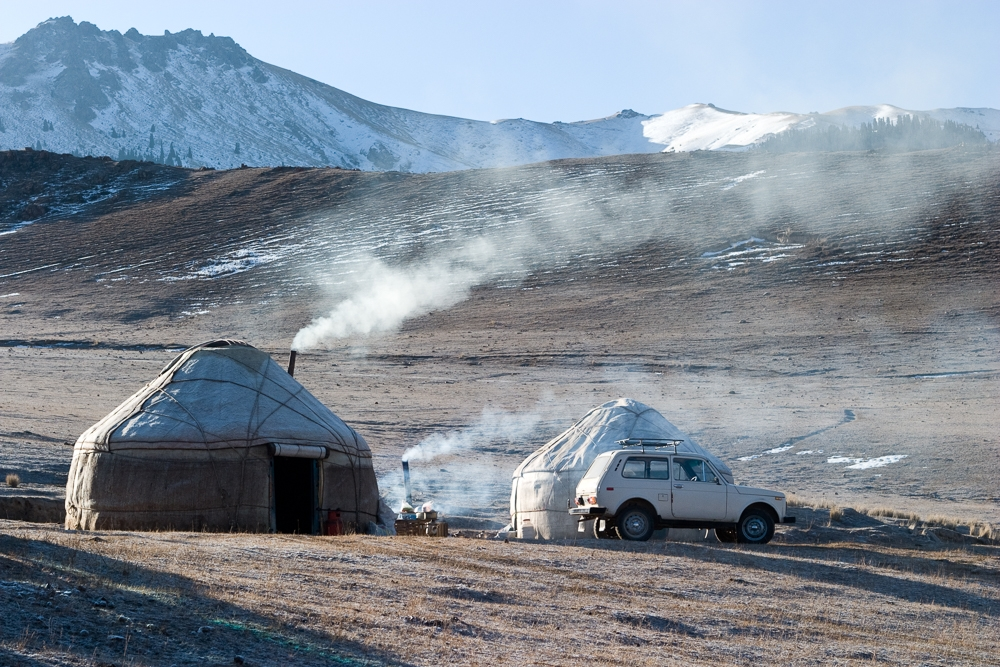 Portable felt yurts dot the Kyrgyz landscape from spring to fall. In winter most families return to houses in villages.