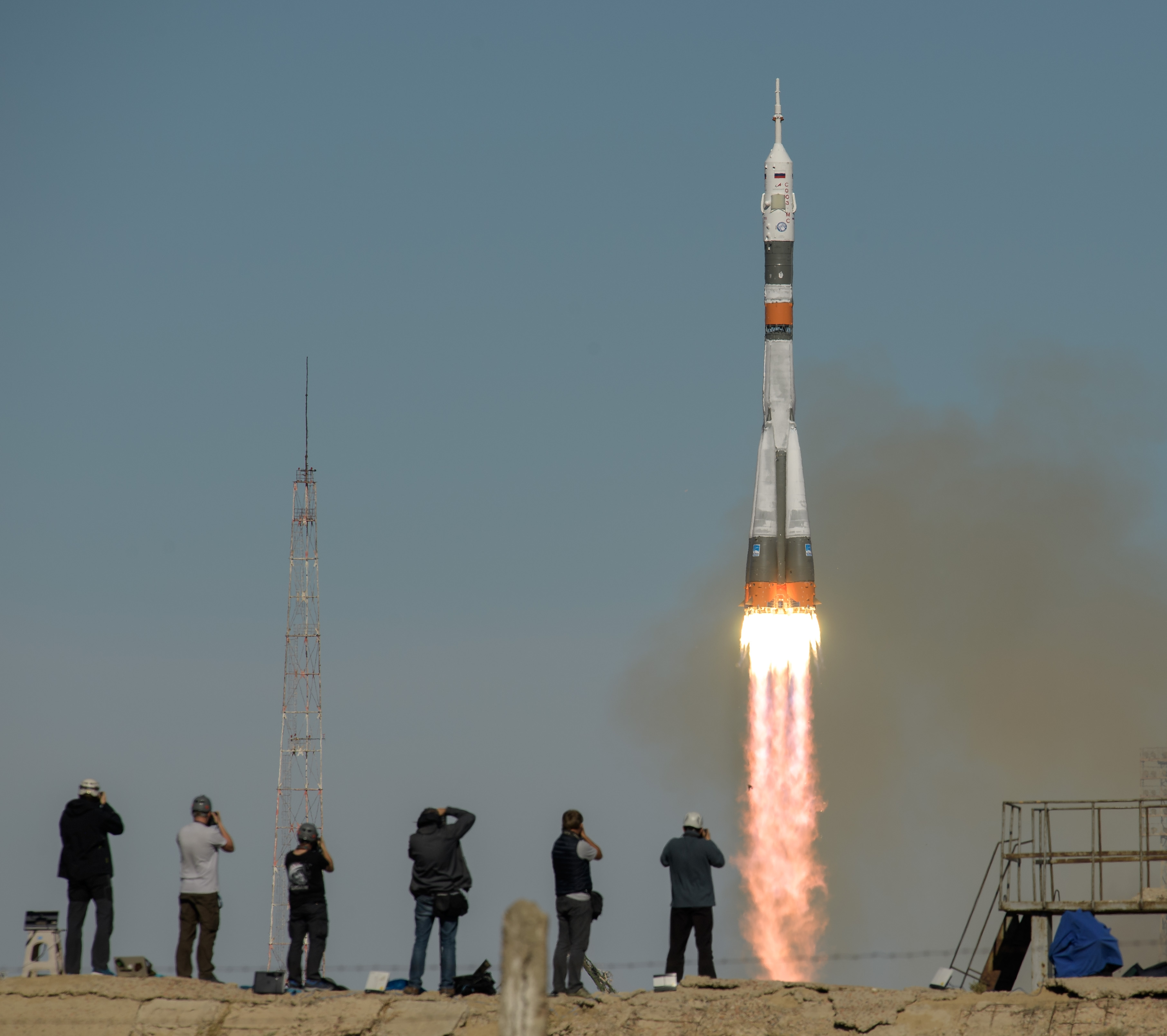 The Soyuz MS-10 spacecraft is launched with Expedition 57 Flight Engineer Nick Hague of NASA and Flight Engineer Alexey Ovchinin of Roscosmos, Thursday, Oct. 11, 2018 at the Baikonur Cosmodrome in Kazakhstan. (Photo: NASA/Bill Ingalls)