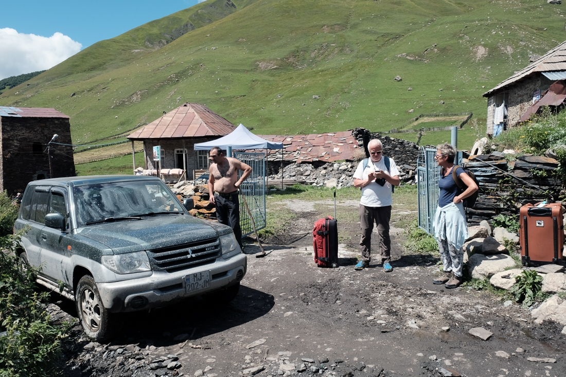 Tourists arrive in Ushguli and search for a mobile signal.