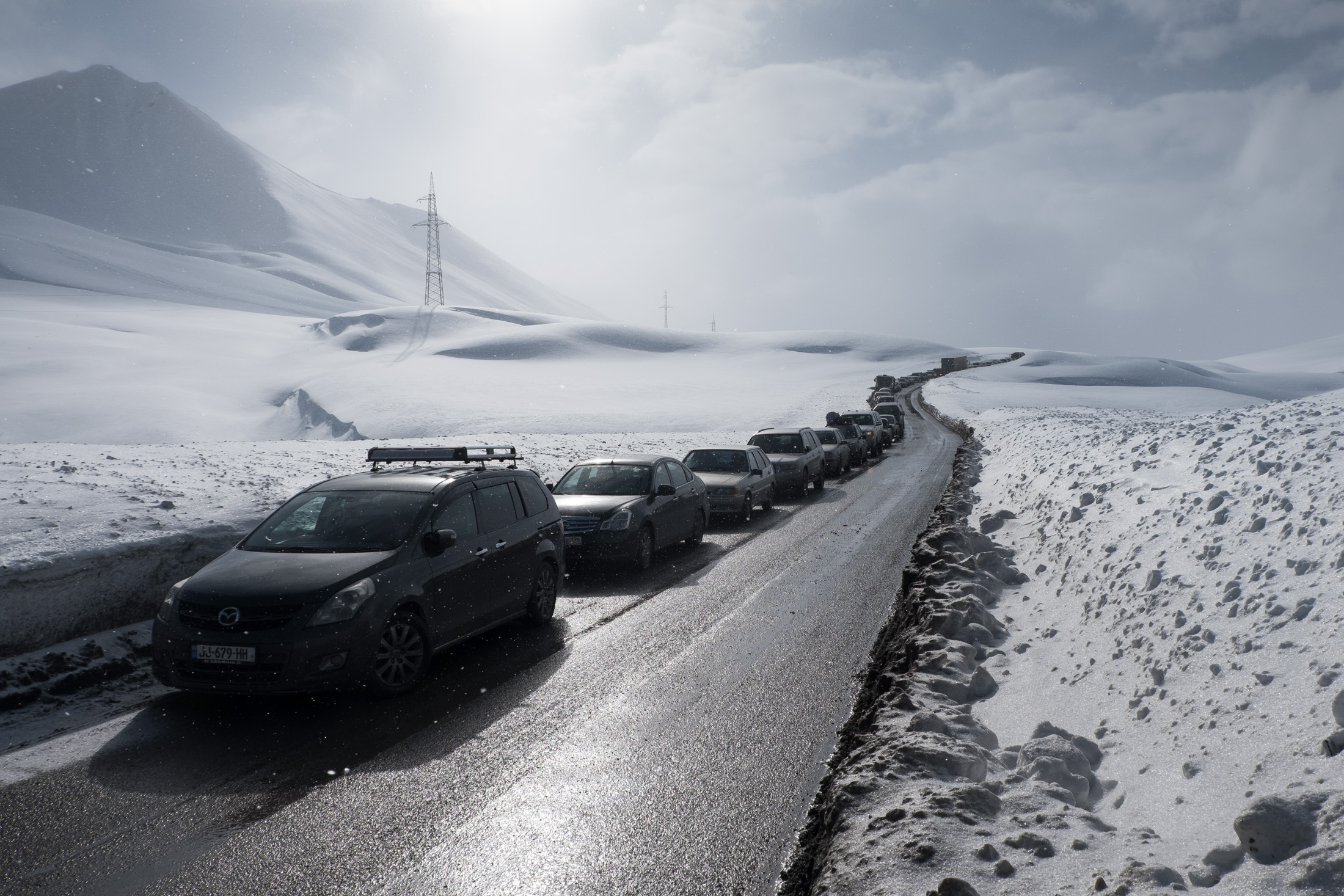 traffic jam on the Georgian Military Highway