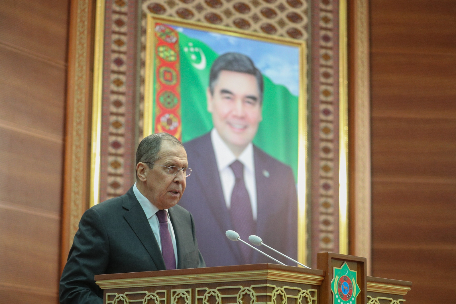Russia's Minister of Foreign Affairs, Sergey Lavrov, spoke at the Institute of International Relations at Turkmenistan's Ministry of Foreign Affairs in Ashgabat on February 6, 2019.