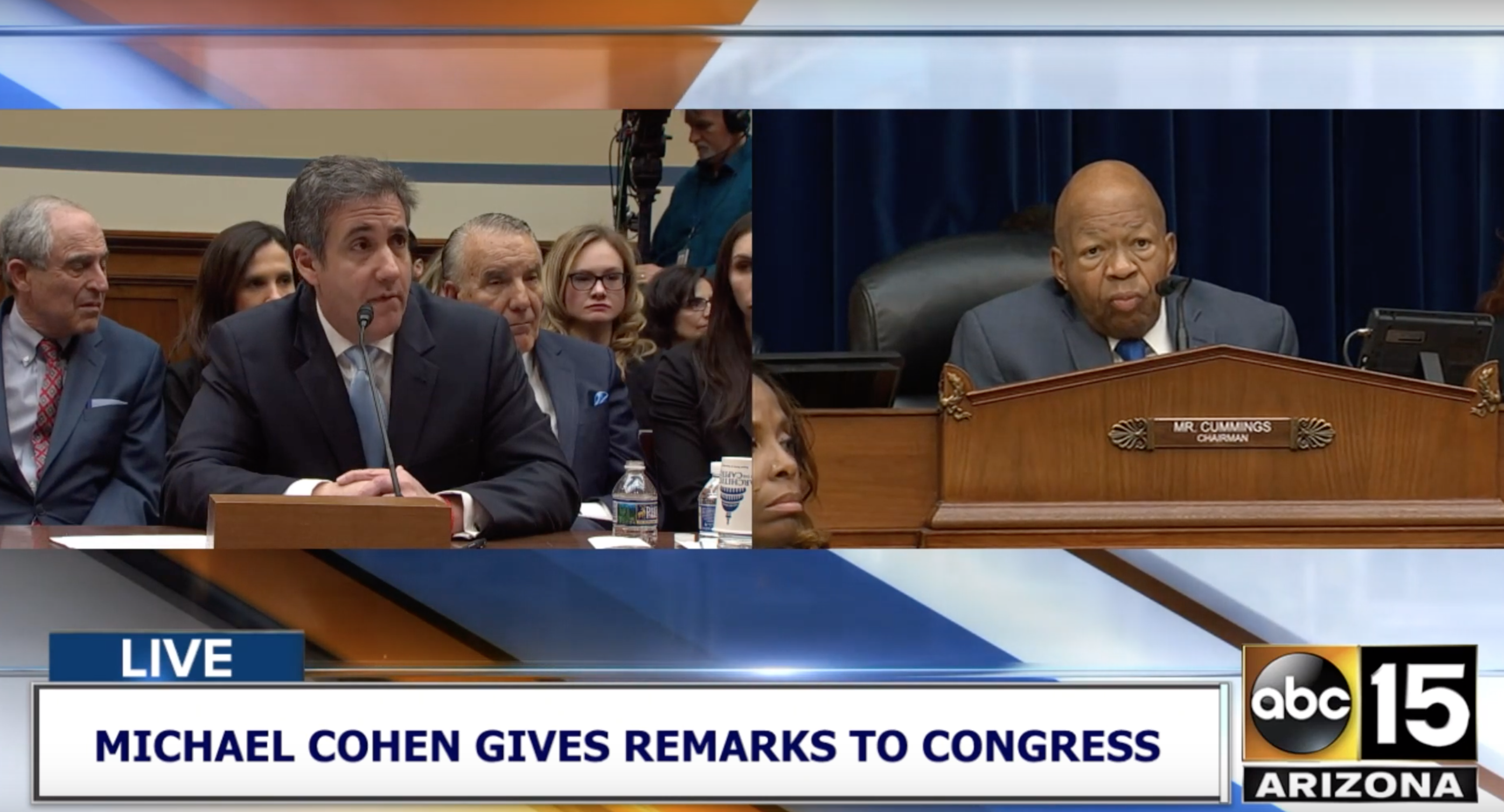 Televised footage of Michael Cohen responding to questions about BTA Bank during a US congressional hearing on February 27.