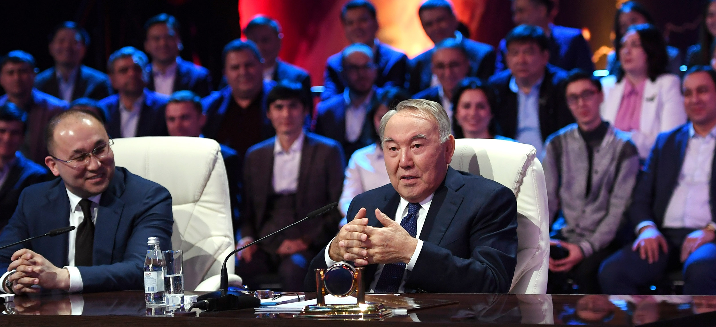 His master's voice: Information Minister Dauren Abayev, left, sitting alongside President Nursultan Nazarbayev. (Photo: Akorda presidential administration website)