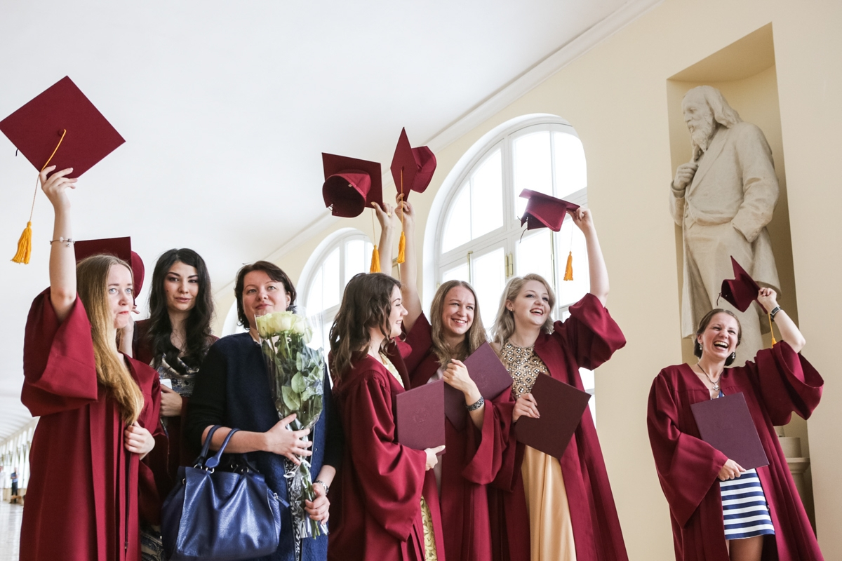 students celebrating graduation at Saint Petersburg State University