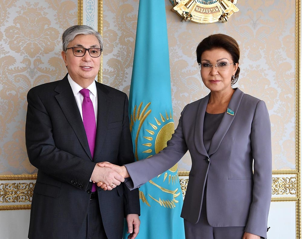 Kazakhstan's new president, Kassym-Jomart Tokayev, with Kazakhstan's new speaker of the Senate, Dariga Nazarbayeva.