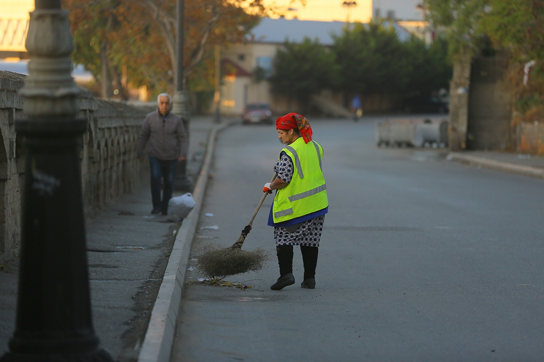 street sweeper in Baku, Azerbaijan