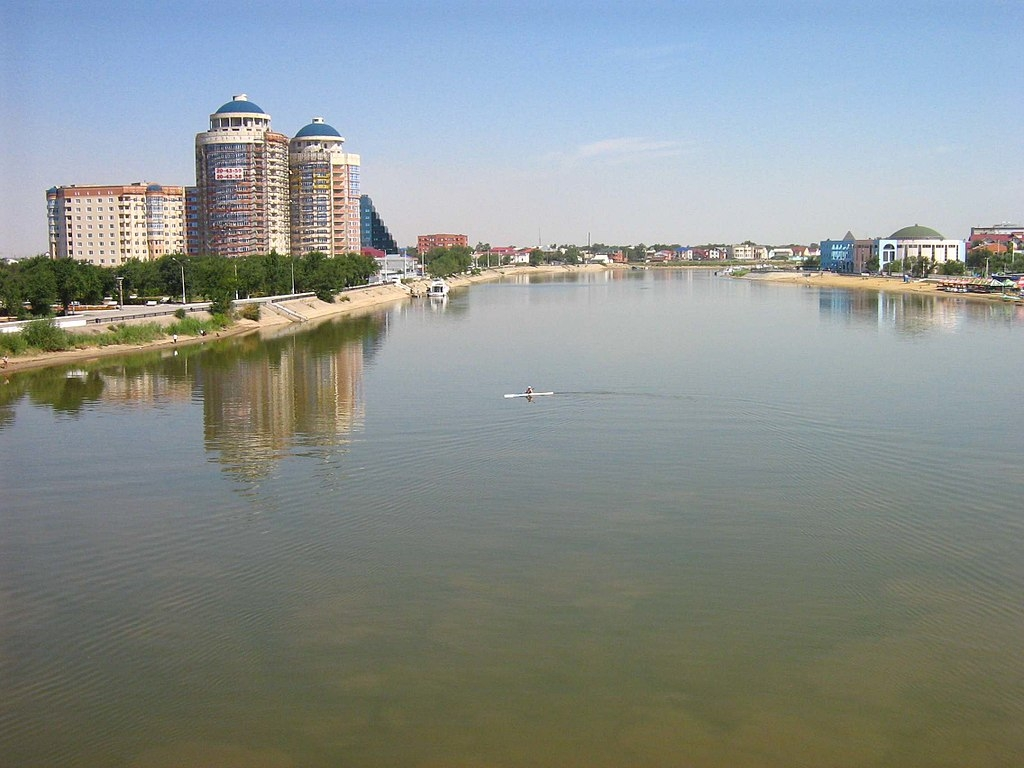Ural river in Atyrau city (Kazakhstan)