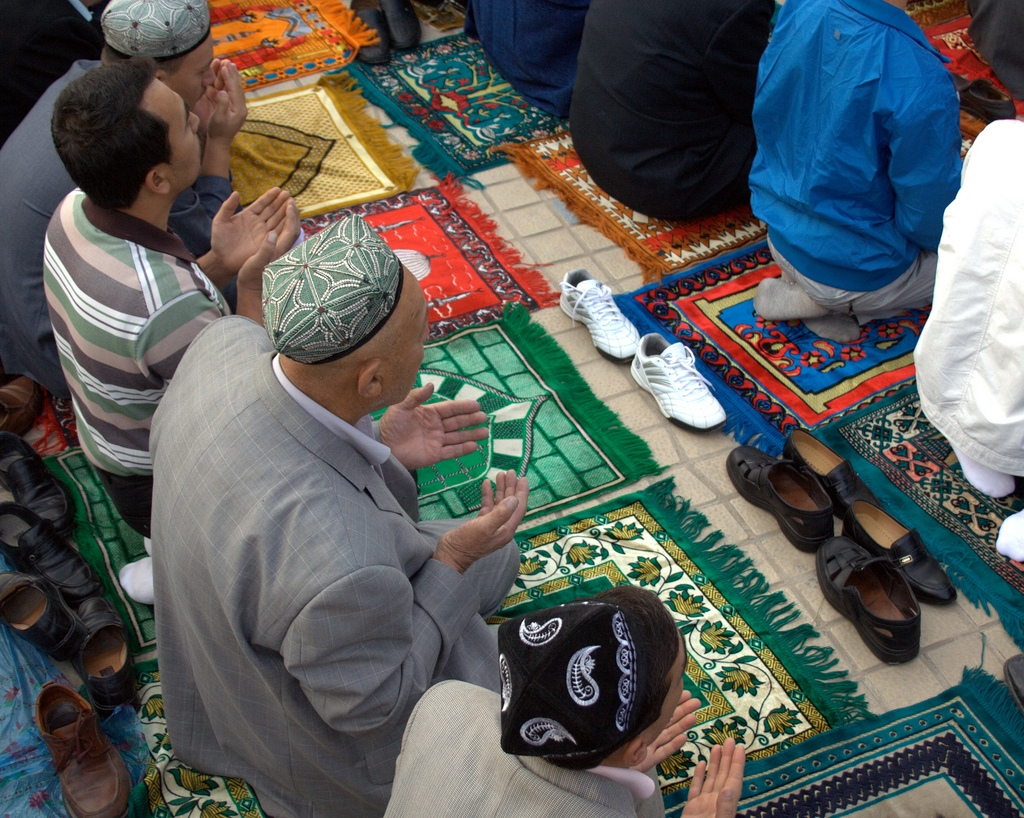 Men praying at Id Kah Mosque on Eid ul-Fitr