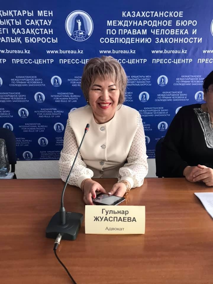 Gulnara Zhuaspayeva seen at a press conference. (Photo: Gulnara Zhuaspayeva's Facebook page)