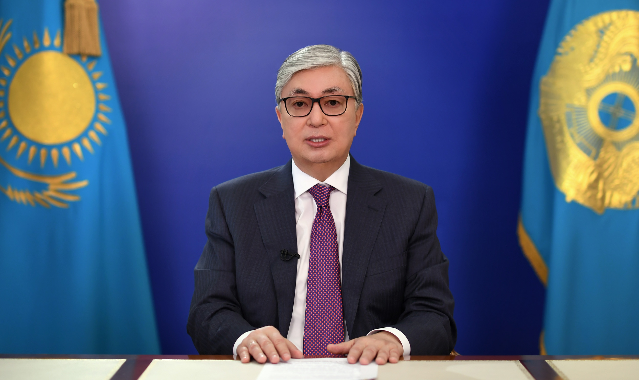 Kassym-Jomart Tokayev addresses the nation.