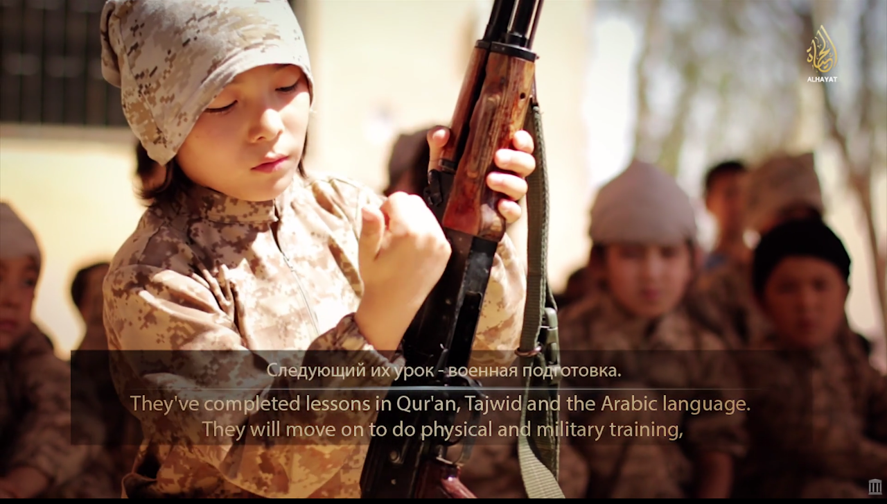 A 2014 ISIS propaganda video shows children described as Kazakh undergoing military training.