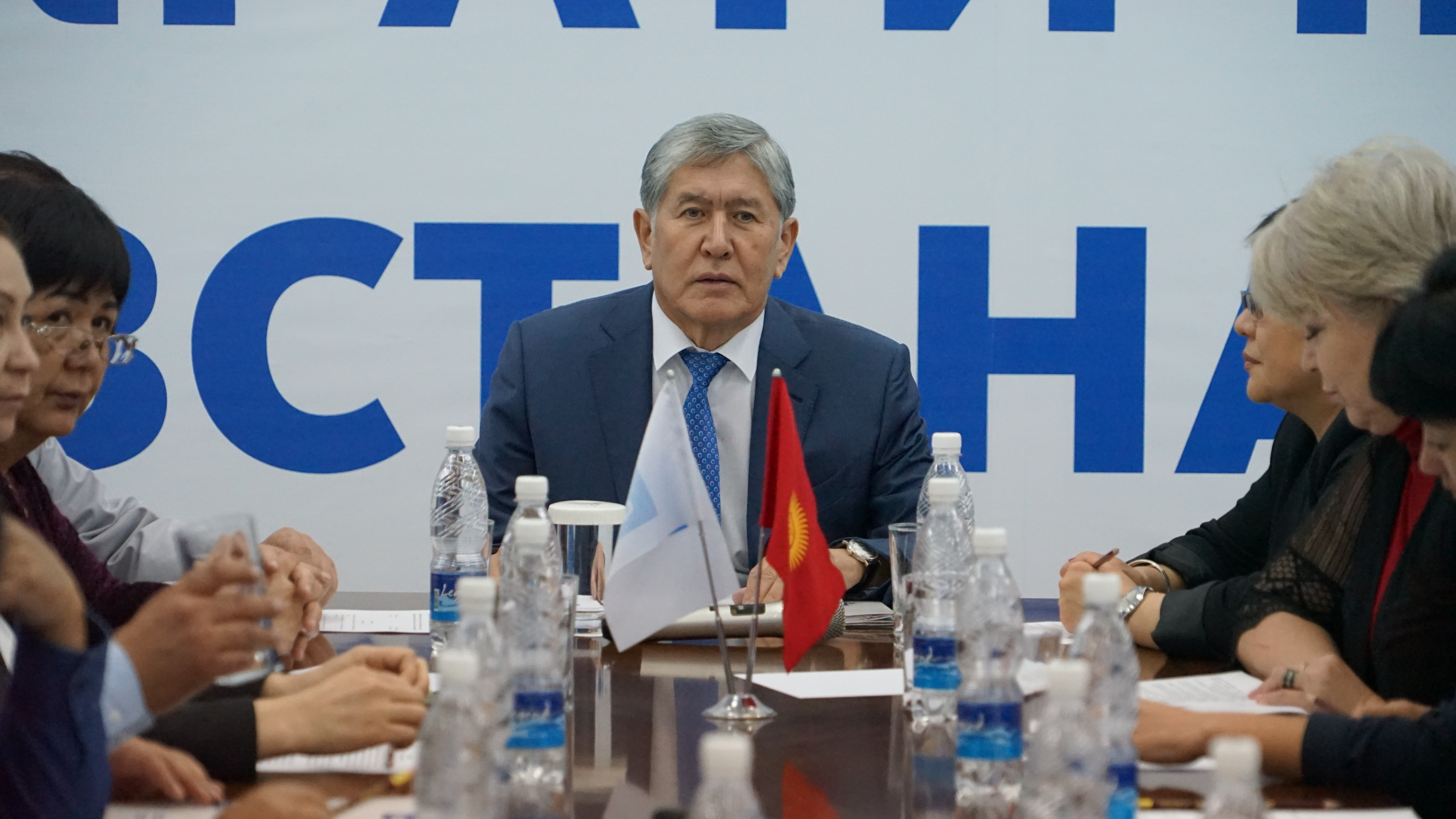 Hello darkness my old friend: Atambayev at an SDPK meeting last month. (Photo: SDPK)
