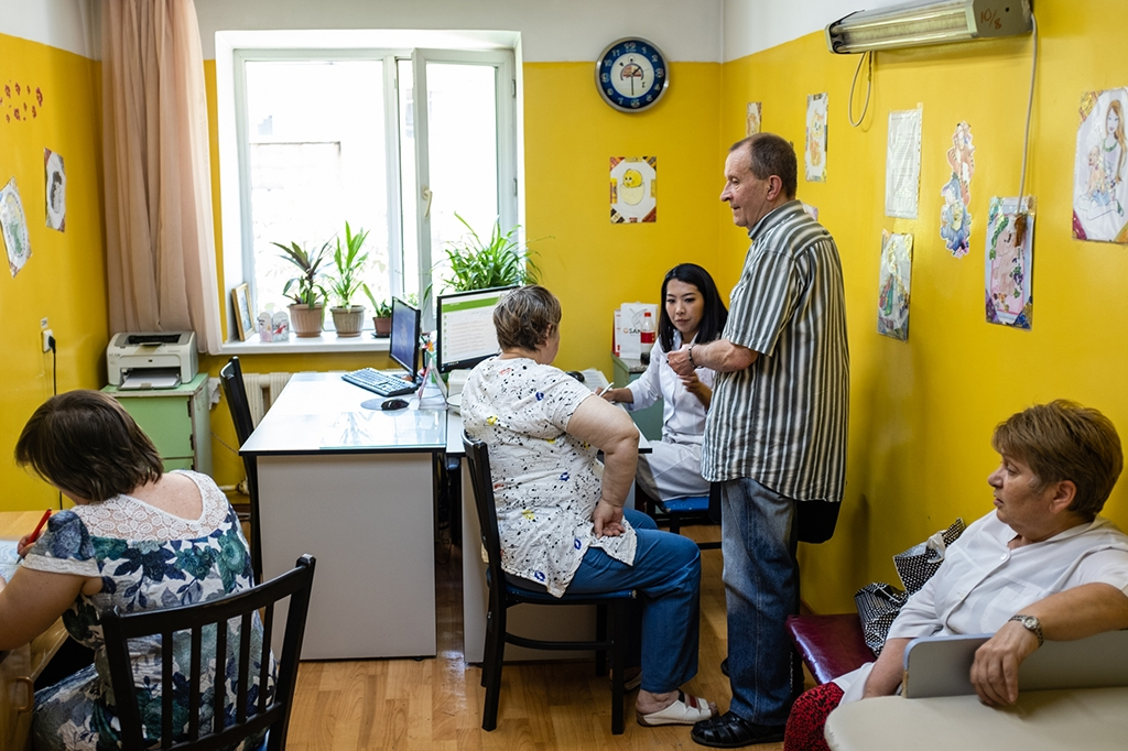 Aigerim Zhakasheva meets patients in her office in Almaty. (all photos by Danil Usmanov)