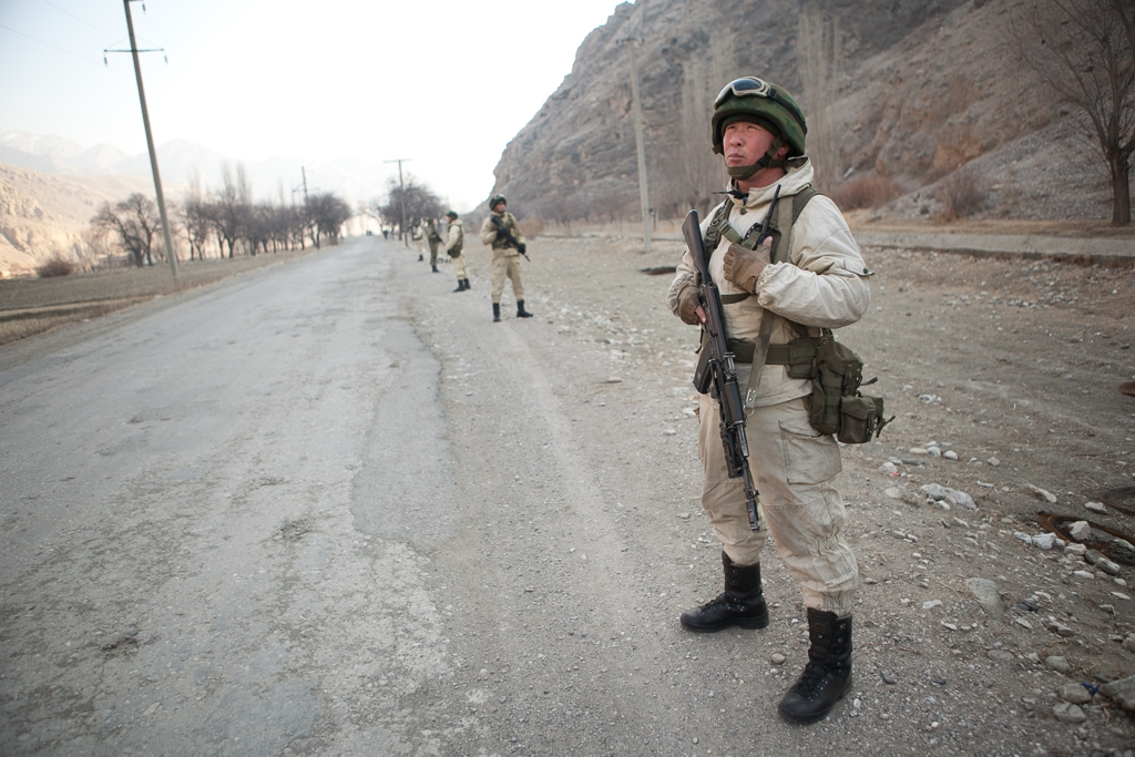 Kyrgyz border troops patrol a road on disputed territory connecting Ak-Sai with Kyrgyzstan and Vorukh with Tajikistan. (all photos by David Trilling)