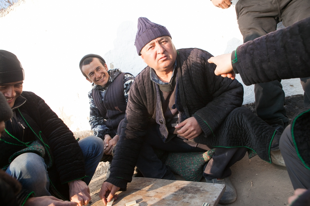 Villagers in Ak-Sai, a predominantly Kyrgyz village on disputed territory, play dominoes.