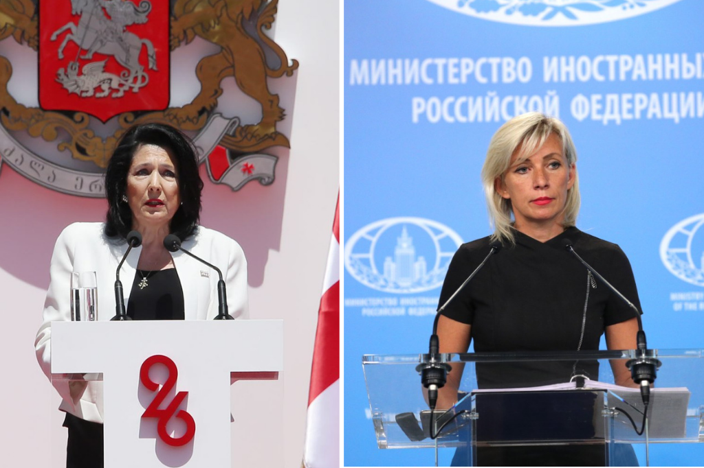 images of Georgian President Salome Zourabichvili and Russian MFA spokesperson Maria Zakharova giving talks