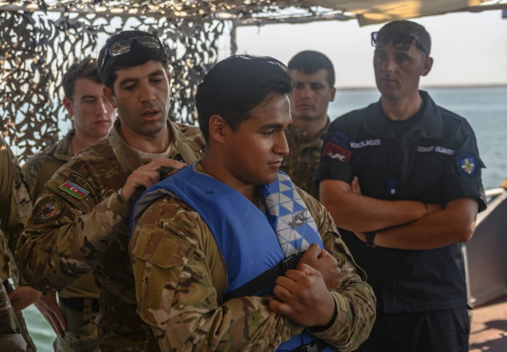 An Azerbaijani sailor in a U.S. maritime security program in Romania last month. (Photo by Petty Officer 1st Class Scott Bigley/DVIDS)