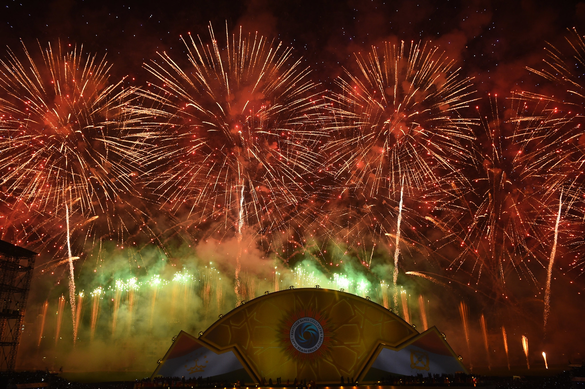 Partying too soon?: Firework display to mark the launch of the first unit of Roghun hydropower plant in November 2018. (Photo: Tajikistan presidential administration)