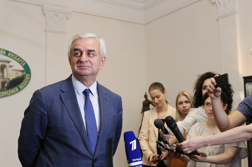 Abkhazia's separatist leader, Raul Khajimba, speaks with media on election day (presidentofabkhazia.org)