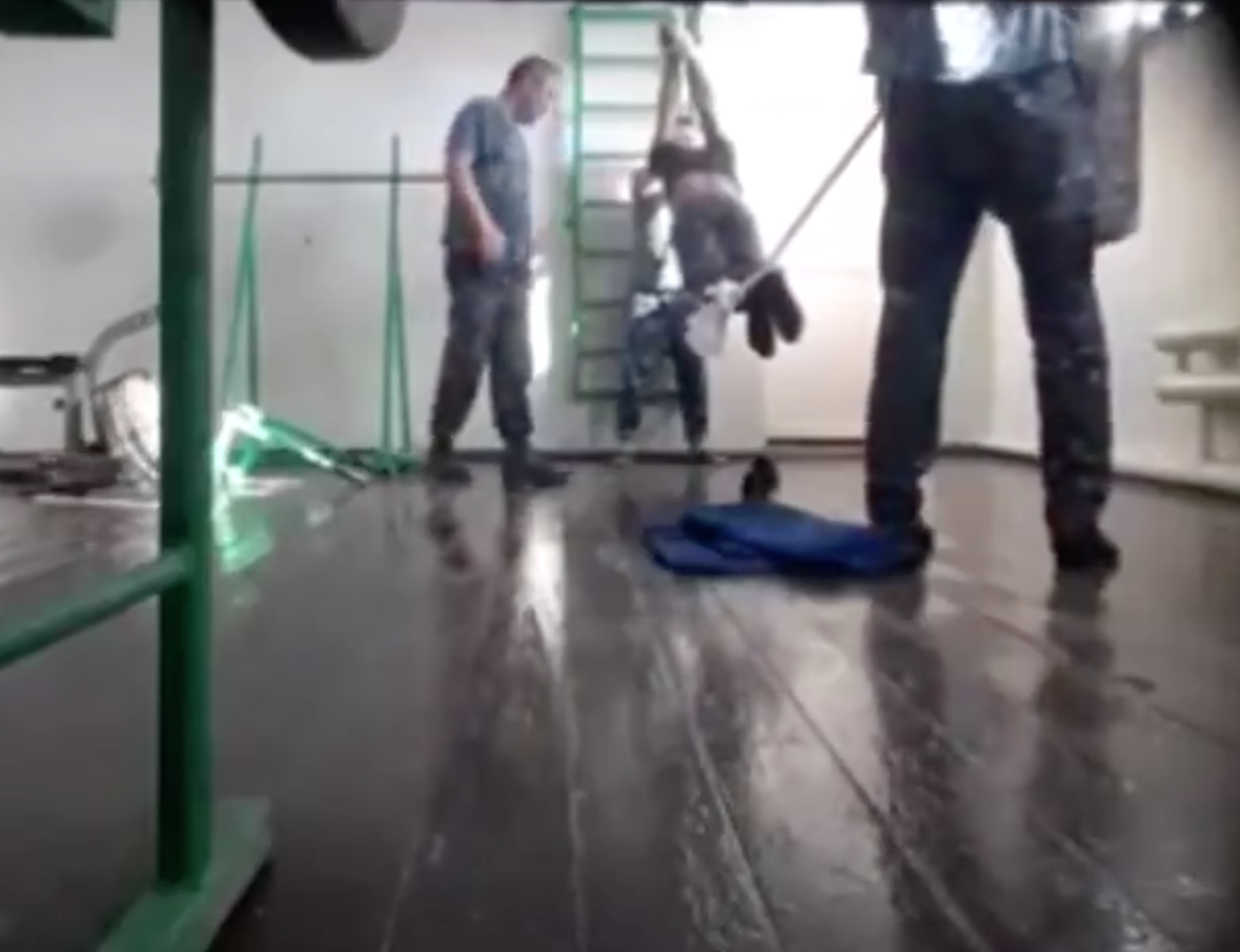 A screenshot taken from the video documenting the alleged torture at Zarechnoye prison.