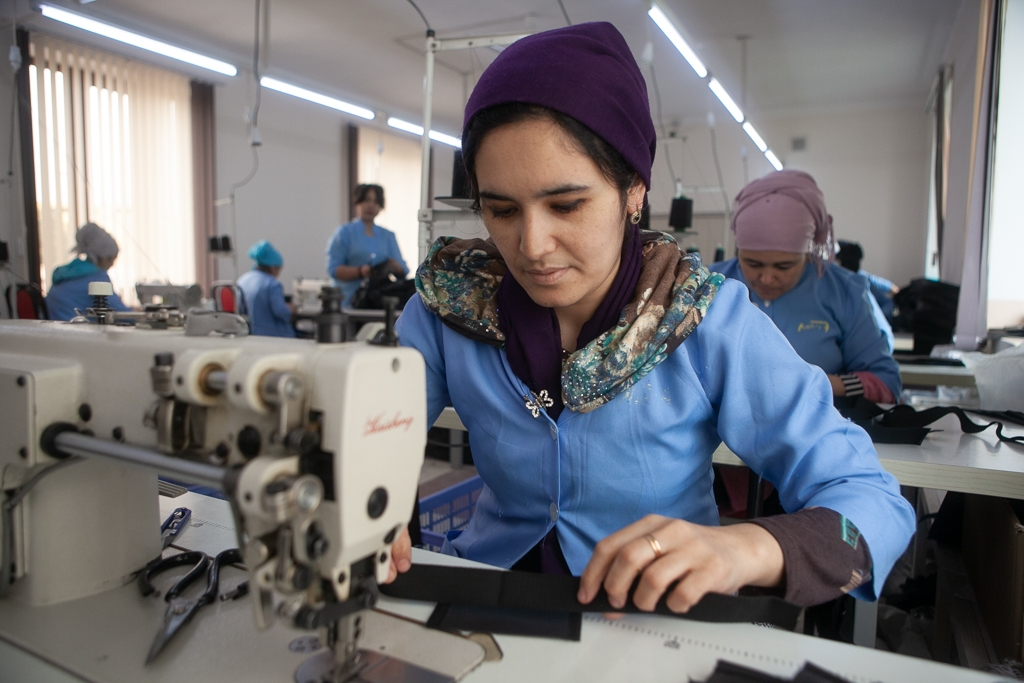 Women making duffle bags in Mamatkulov's Kokand factory. (all photos David Trilling)