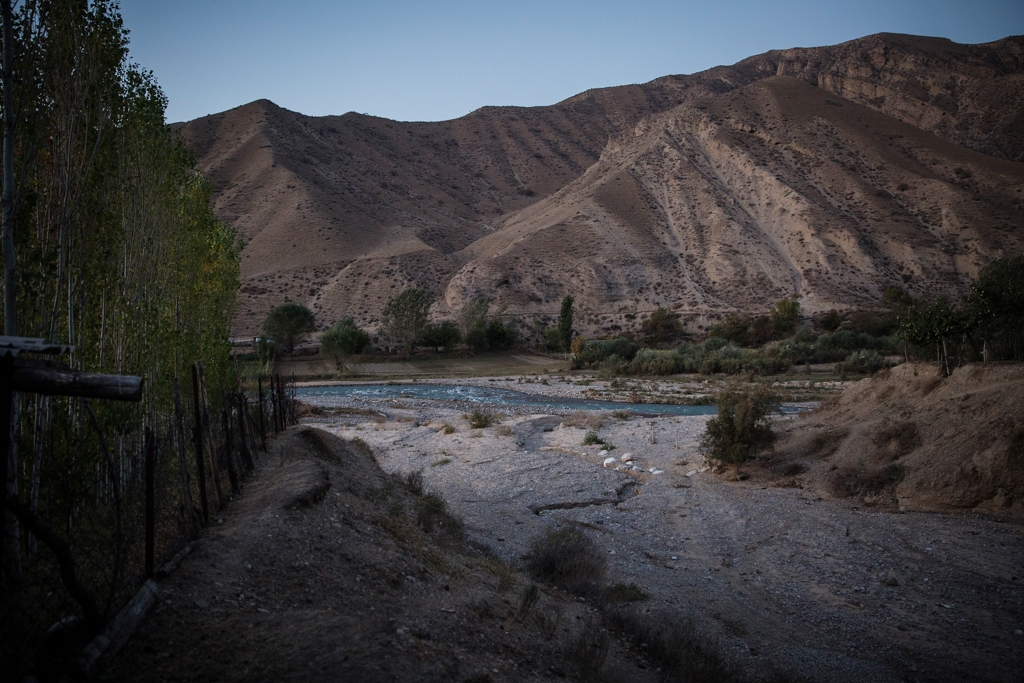 A river near the village of Lyaily near Beshkent, Kyrgyzstan, which feeds an aryk, an irrigation canal.