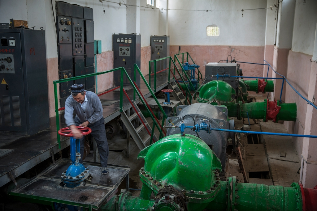 A Soviet-era pumping station in the village of Andarhan. That water is not controlled for human consumption.