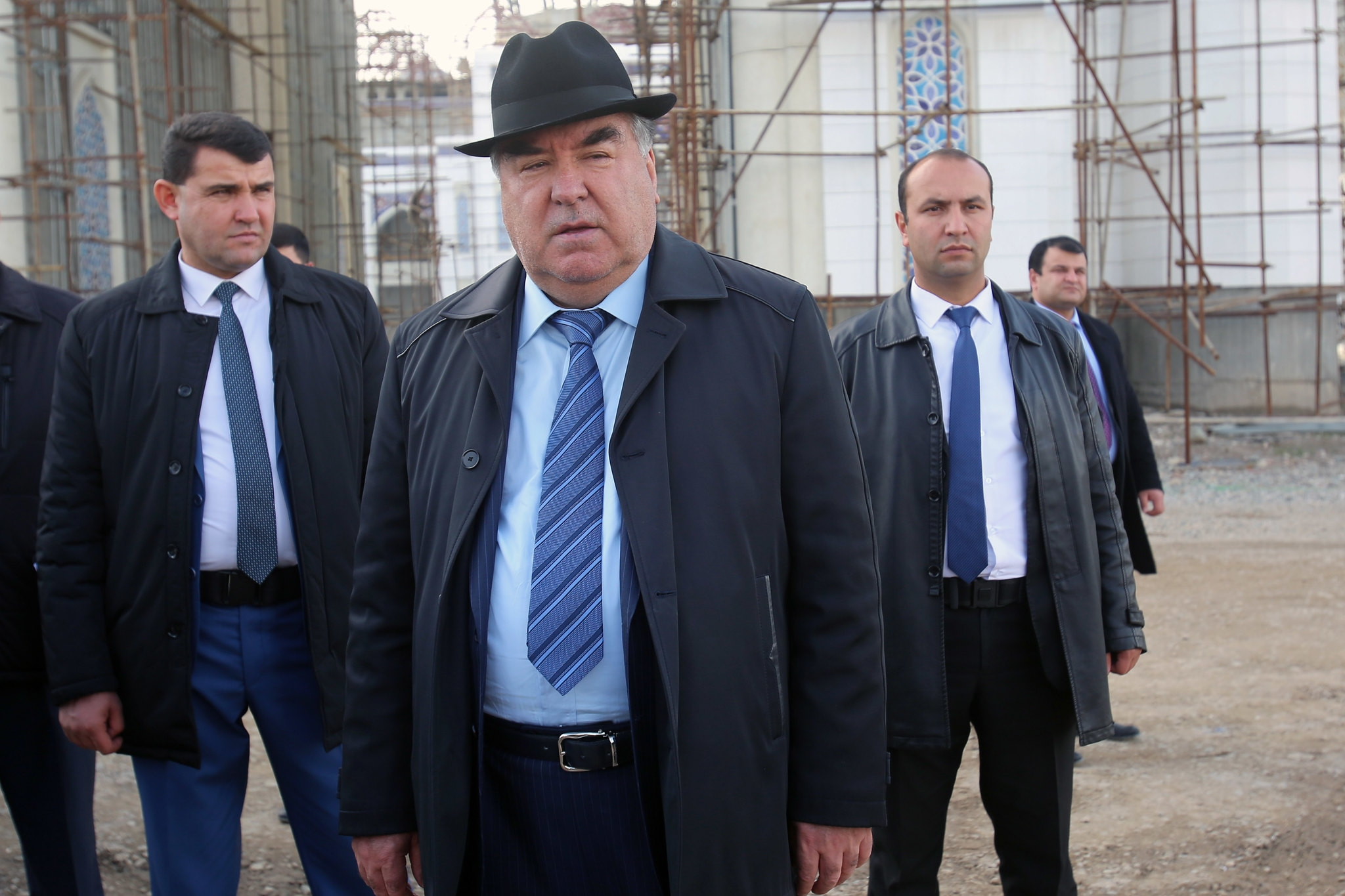 President Emomali Rahmon visiting a mosque under construction in Dushanbe in November 2018. (Photo: Presidential press service)