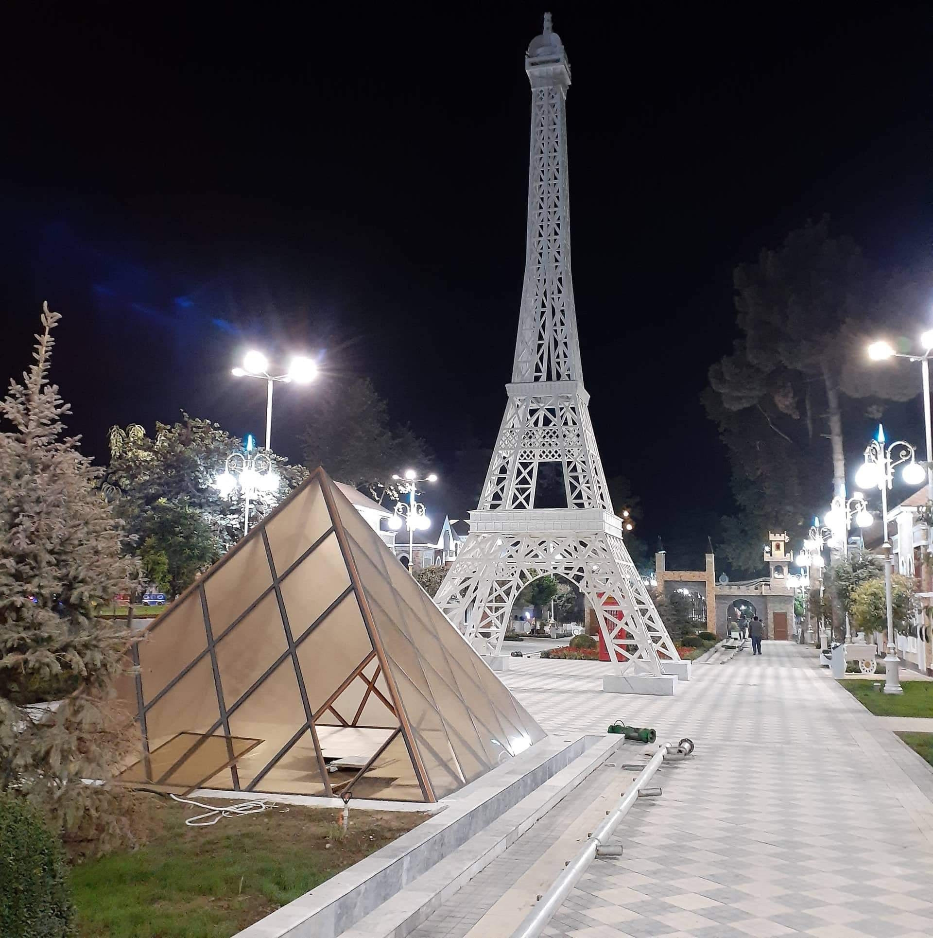 Just like the real thing: A model of the Eiffel Tower in Kulob. (Photo: Eurasianet)