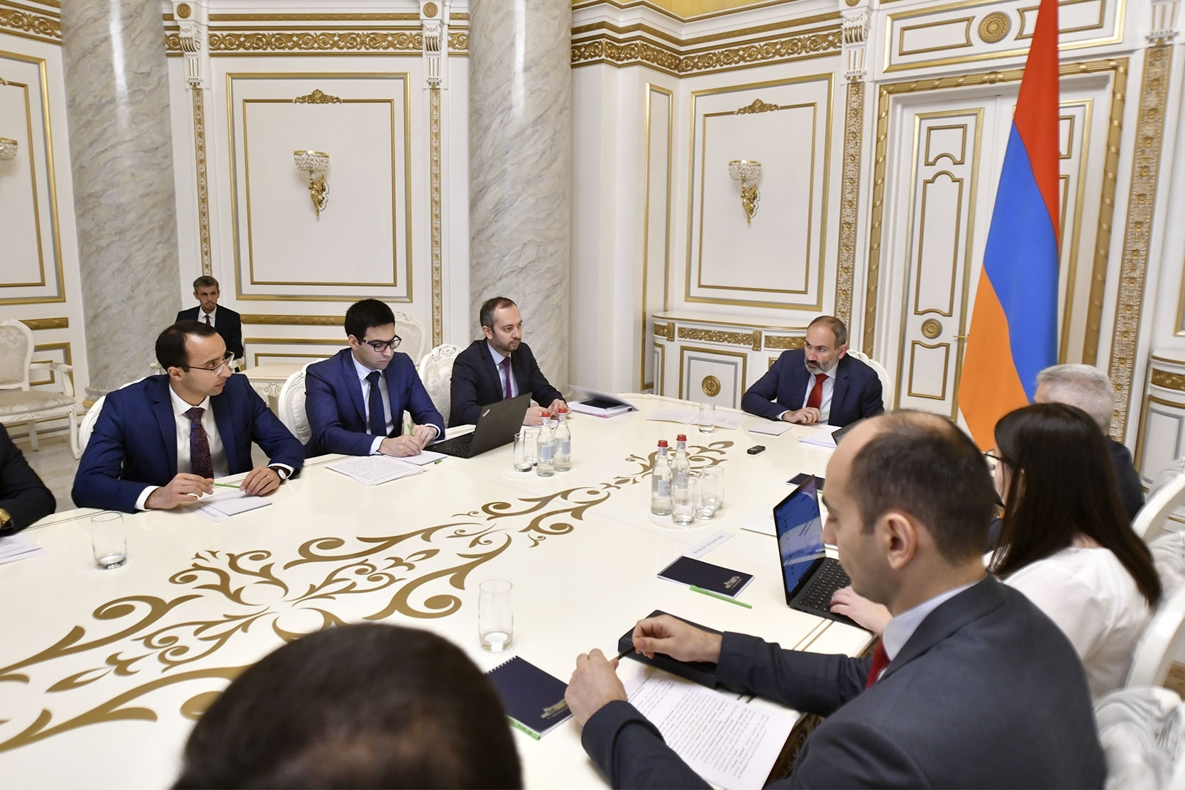 Prime Minister Nikol Pashinyan meets with his cabinet on October 22. Pashinyan has been forced to explain a secret raise for cabinet members. (photo:primeminister.am)