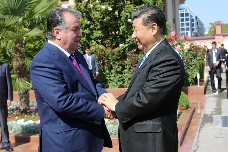 Tajik President Emomali Rahmon and Chinese leader Xi Jinping meeting in June 2019. (Photo: Tajik presidential administration)