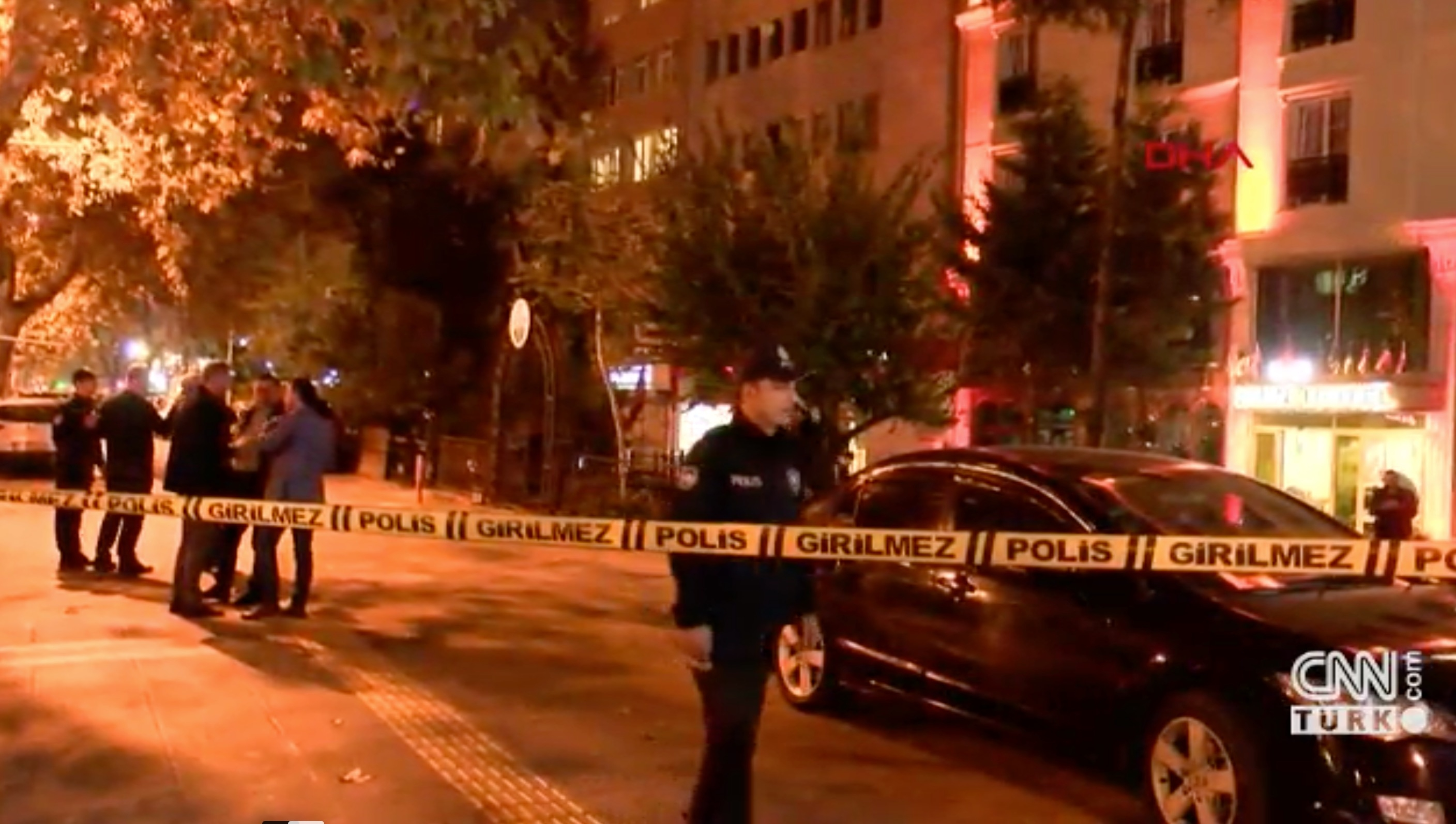 Screengrab of CNN Turk footage from the scene of the shooting.