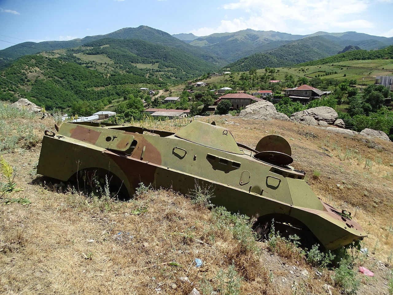 Destroyed military vehicle Karabakh
