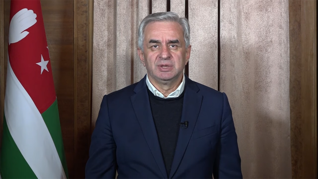 Screenshot of de facto leader of Abkhazia Raul Khajimba giving a televised address following his resignation on January 12.