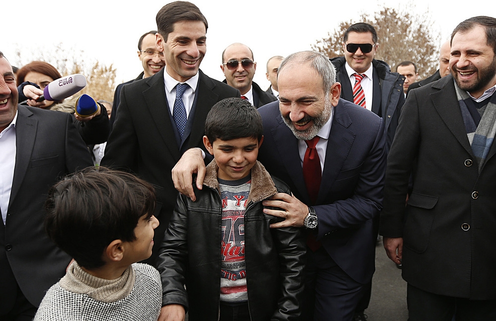 Samvel, a precocious 10-year-old, challenged the prime minister to fix the main road in his village. (government handout)