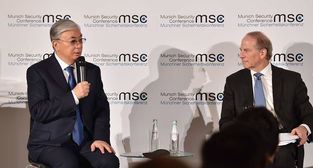 Wait! What's going on with the internet?: President Tokayev at the Munich Security Conference this weekend. (Photo: Presidential administration)