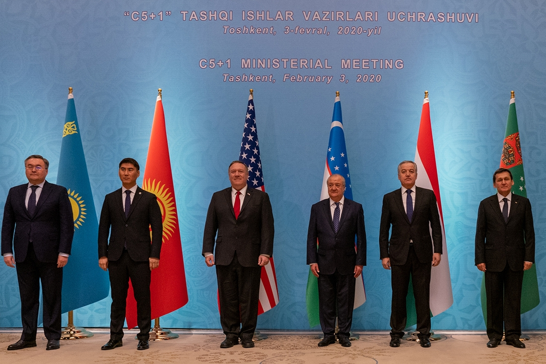 Pompeo and circumstance: The U.S. secretary of state posing with his five counterparts at the C5+1 ministerial summit in Tashkent earlier this week. (@SecPompeo Twitter)